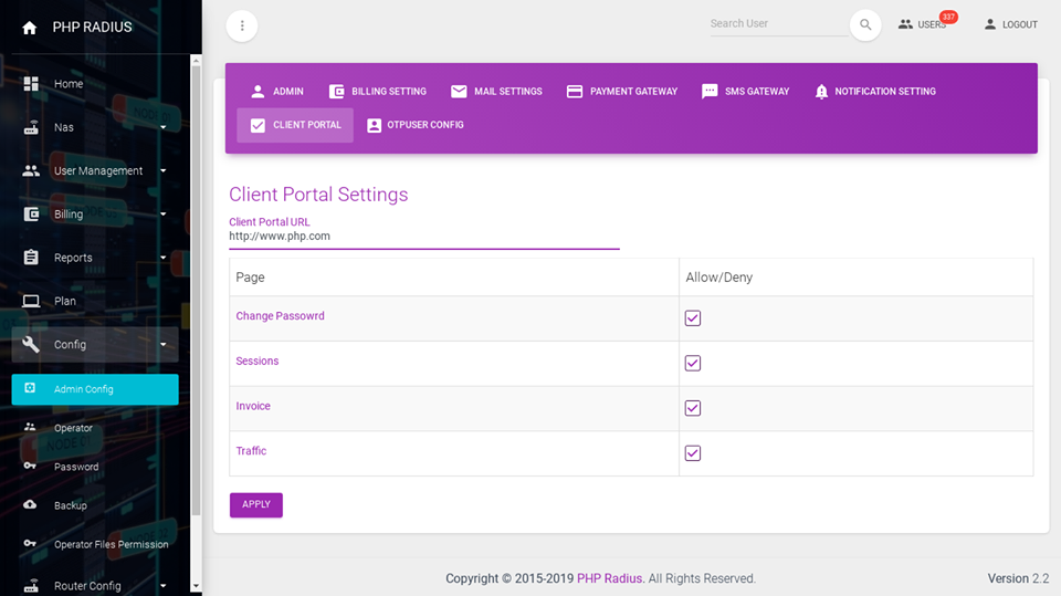set file permission client portal