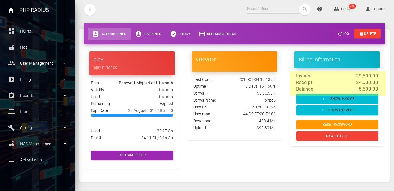 billing status through dashboard