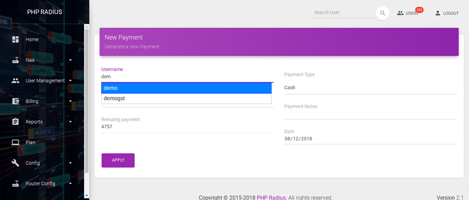 Generate a New Payment for Unpaid Invoice