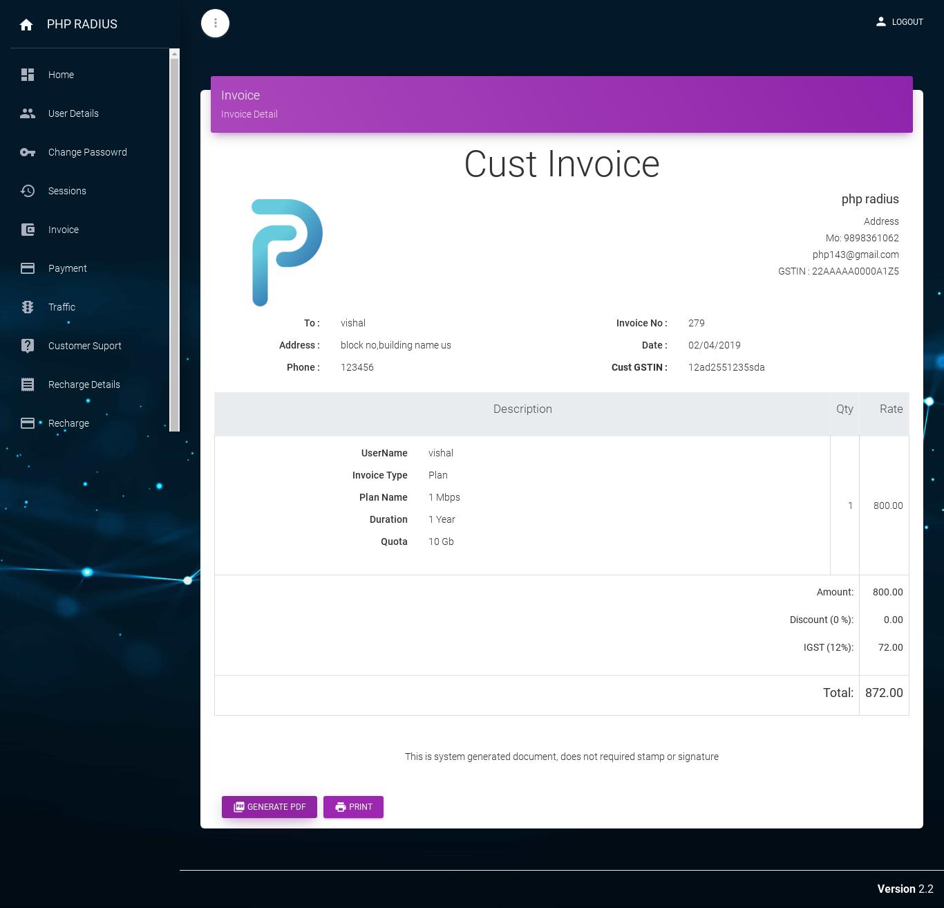 client portal invoice